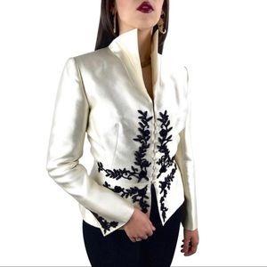 Vintage LIANCARLO COUTURE silk cream beaded jacket